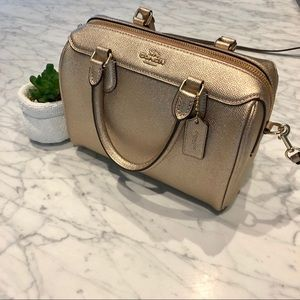 Coach Zip Leather Small Bag (Rose Gold)